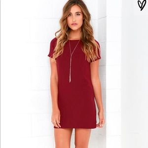 Lulu's Shift and Shout Dress in Maroon